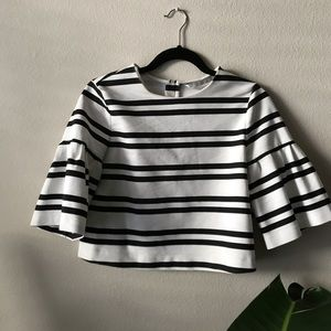 Zara striped top with puff sleeves!